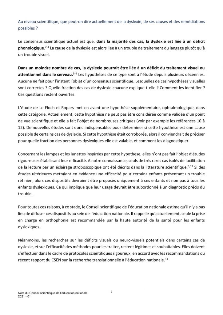 Note du Conseil scientifique de l'Education Nationale